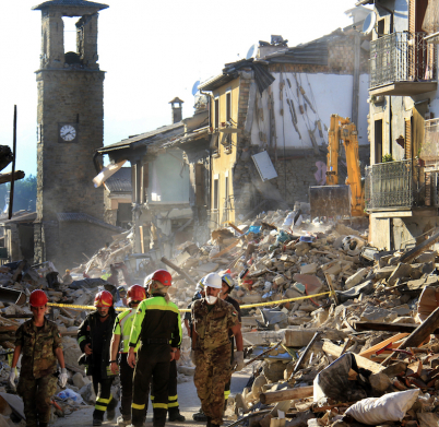 Amatrice, Italy - August 25, 2016:  Houses destroyed by the earthquake  of August 24, 2016, in Amatrice, Italy